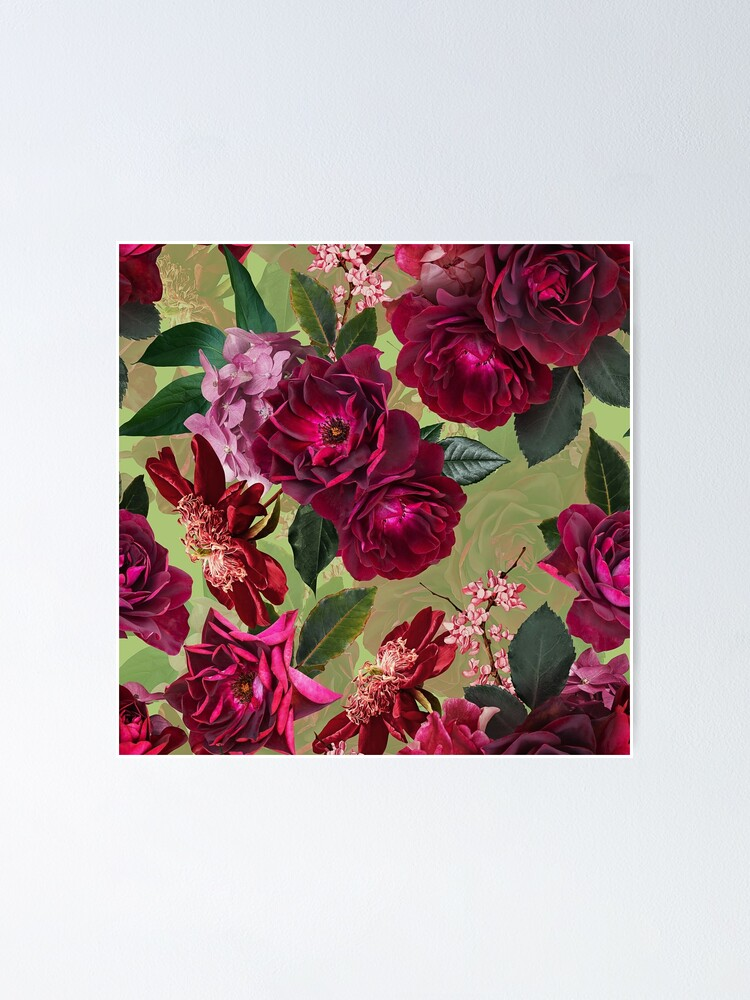 Alternate view of Antique Green Botanical Flower Rose Garden Poster