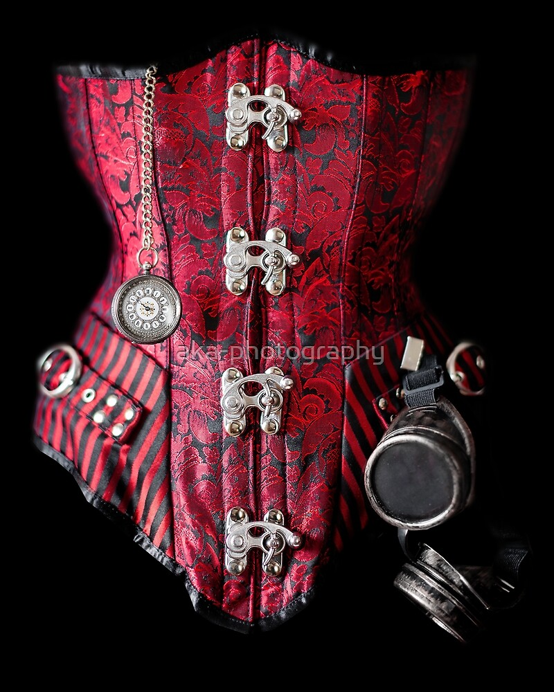 Red steampunk corset by aka-photography