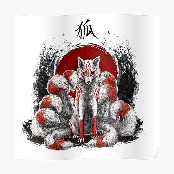 Kitsune de zorro japonés de nueve colas Póster
