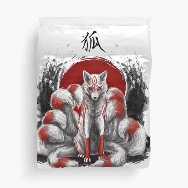 Japanese Nine Tailed Fox Kitsune Duvet Cover