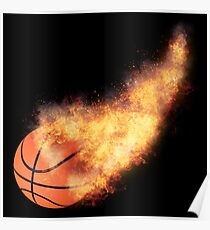 Flaming Basketball Poster