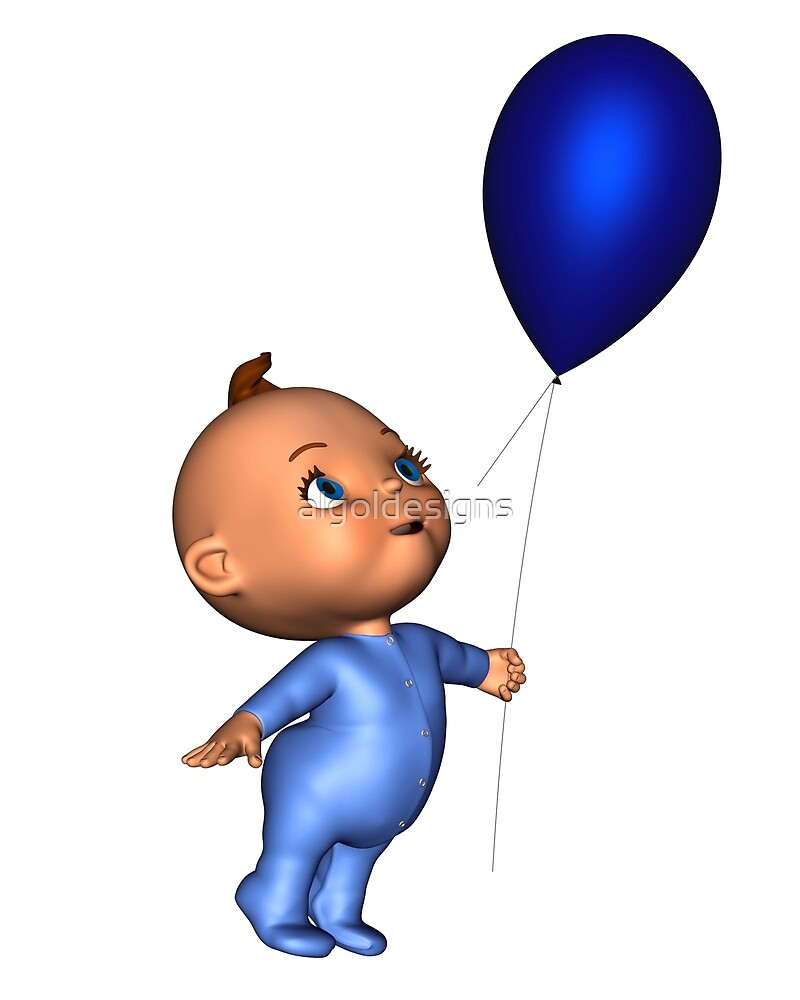 Toon Baby with Blue Balloon by algoldesigns