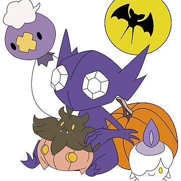 Pokemon Halloween - unshaded version by e4eva