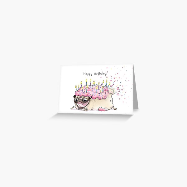Strawberry Frosted Pug Cake Greeting Card
