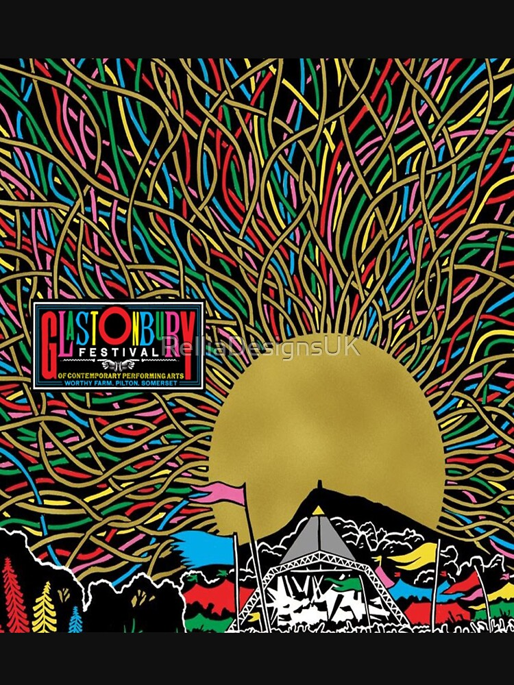 Glastonbury Festival Colourful Sunset Scene Graphic - perfect for Clothing, Prints & Merchandise by RelliaDesignsUK