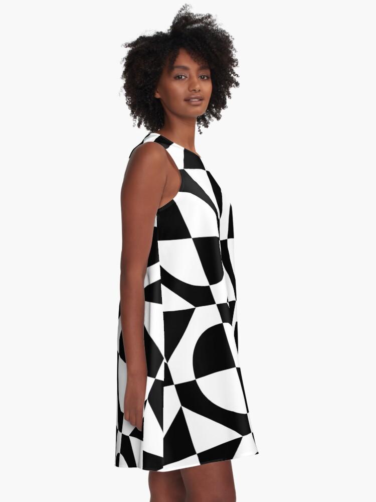 Alternate view of Black & White 1960's Style Two Tone Ska Mod A-Line Dress