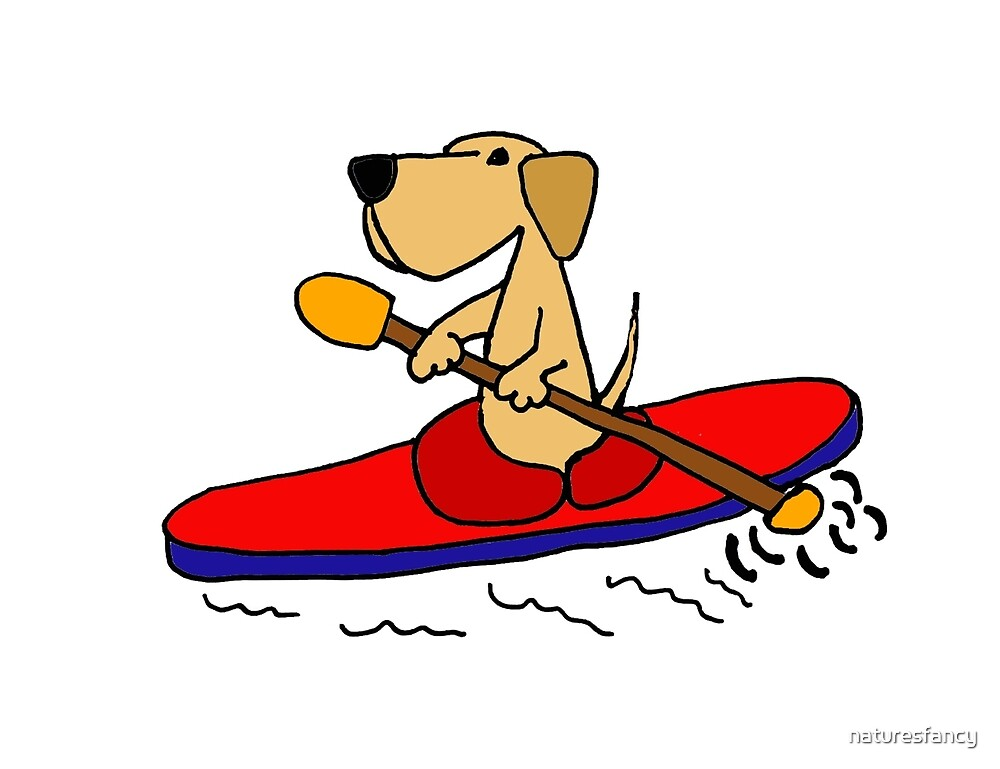 Funny Yellow Labrador Retriever is Kayaking by naturesfancy