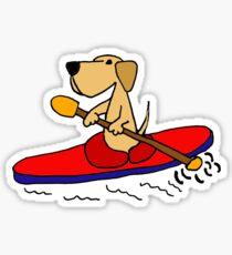 Funny Yellow Labrador Retriever is Kayaking Sticker