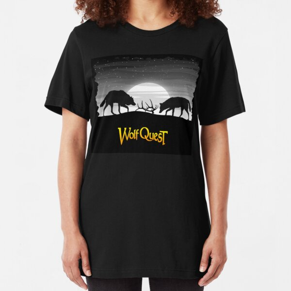 Wolves and Elk Antlers - WolfQuest Dream Slim Fit T-Shirt