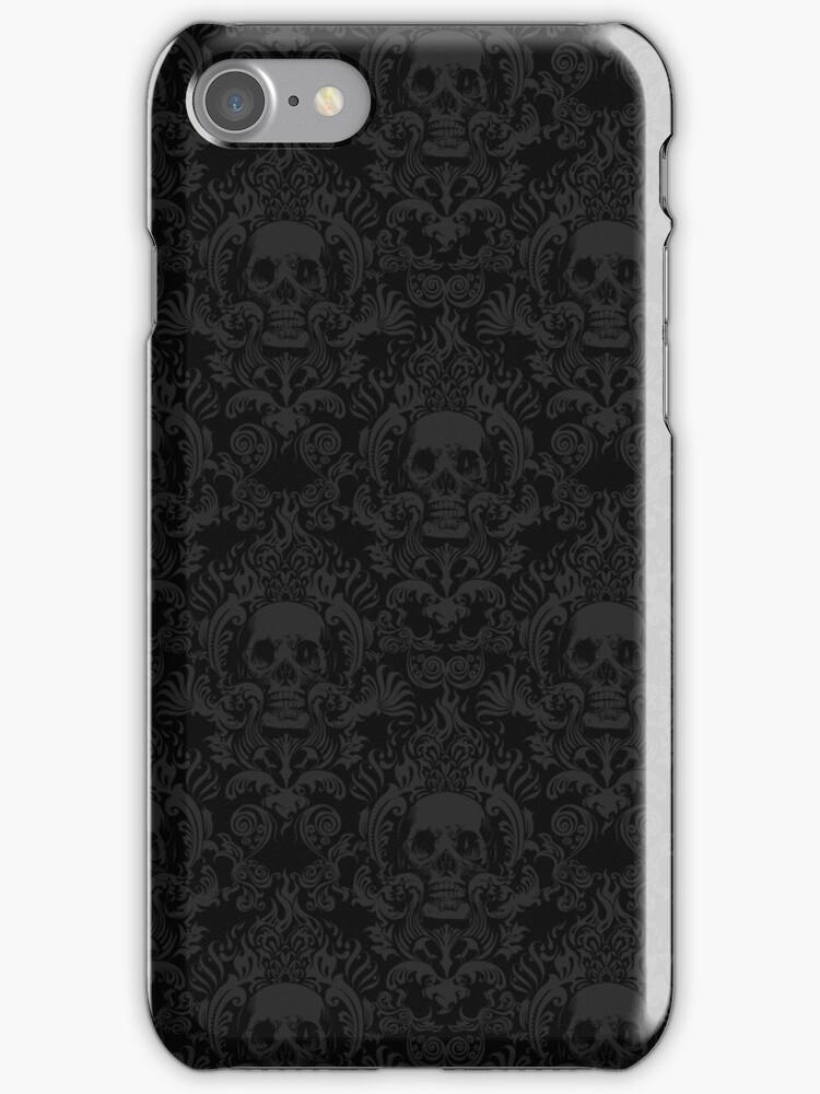 Skull damask wallpaper iphone cases skins by jimiyo - Skull wallpaper iphone 6 ...