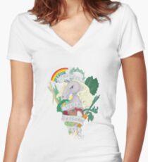 Bad*ss Vegan Unicorn Women's Fitted V-Neck T-Shirt