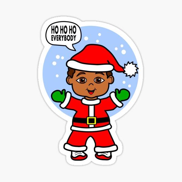 Cute Cartoon Boy Dressed Like Santa Sticker
