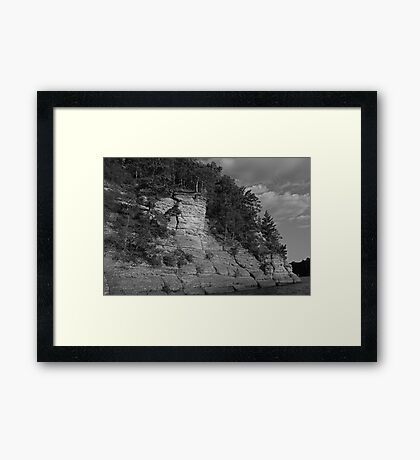 Sandstone Formation in Black and White Framed Print