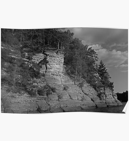 Sandstone Formation in Black and White Poster