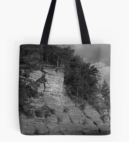 Sandstone Formation in Black and White Tote Bag
