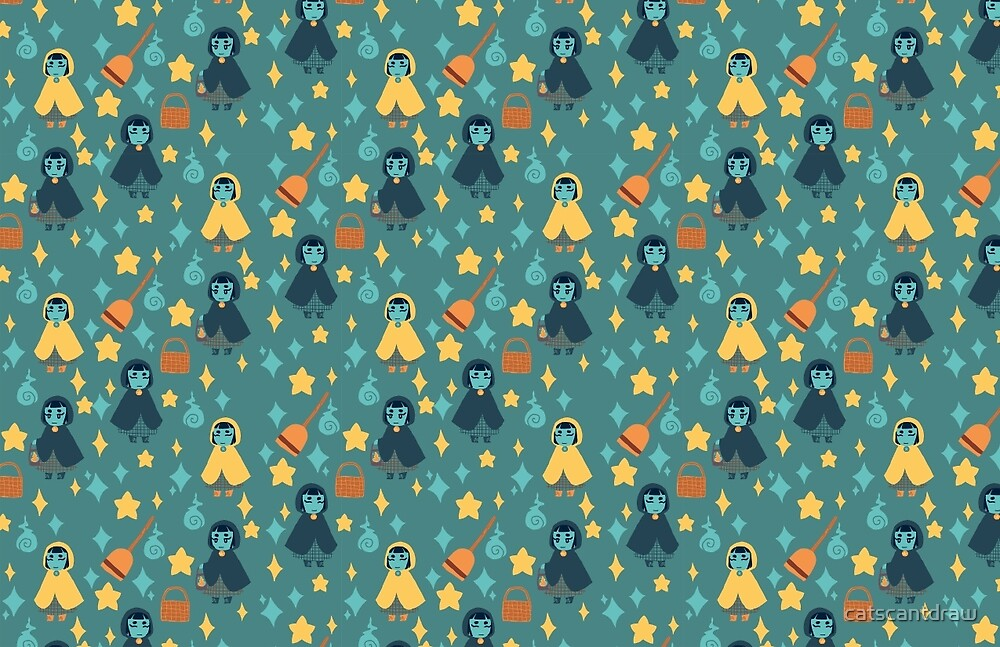 Witch Girl Pattern by catscantdraw