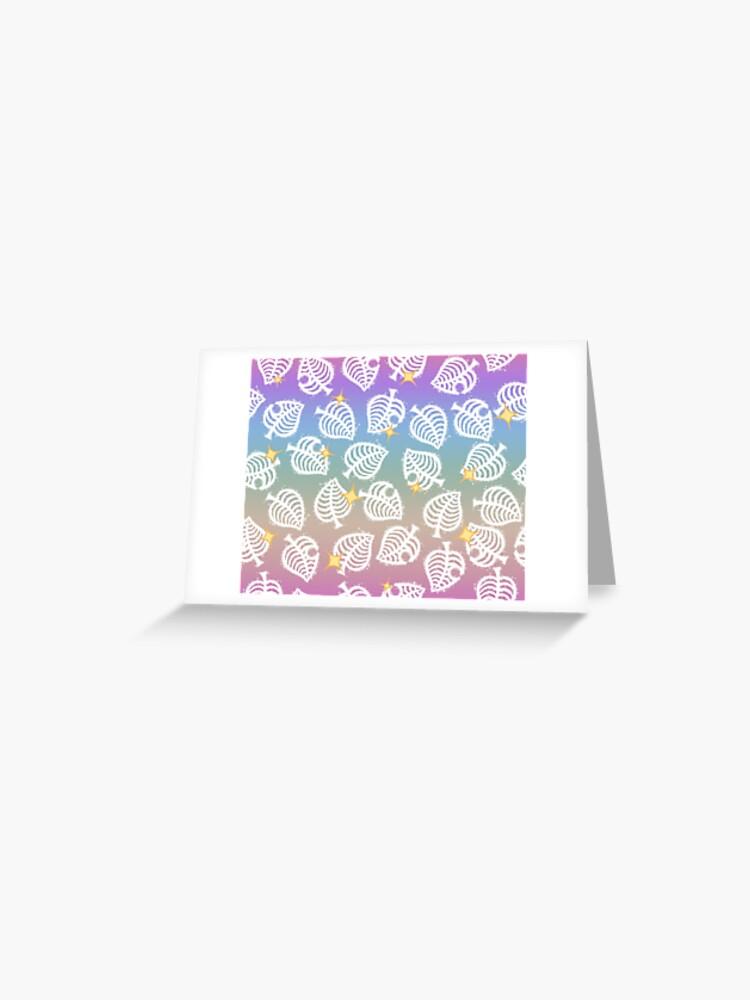 Cute Animal Crossing New Horizons Rainbow Leaf Pattern Greeting