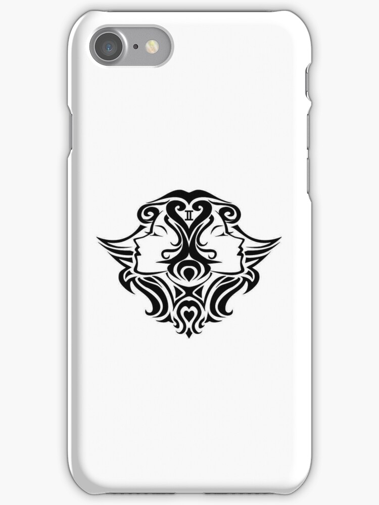 Gemini Black iPhone case by elangkarosingo