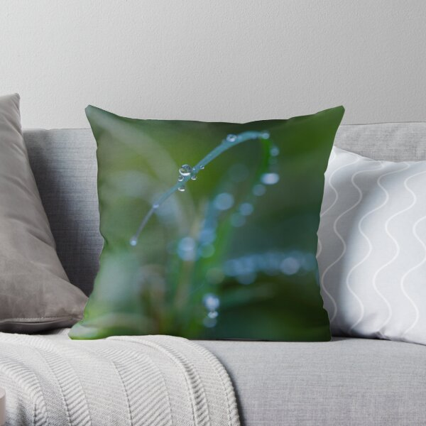 Water drops on leaves (2) Throw Pillow