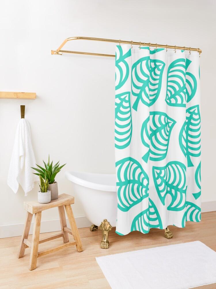 Alternate view of Big Nook Leaf White Shower Curtain