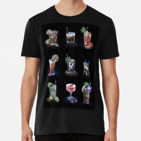 Hand drawn cocktail collection on black Premium T-Shirt
