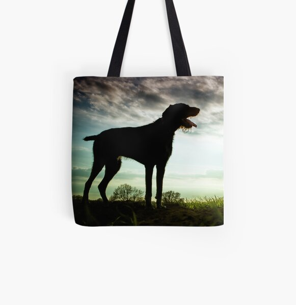German Wirehaired Pointer Sunset All Over Print Tote Bag