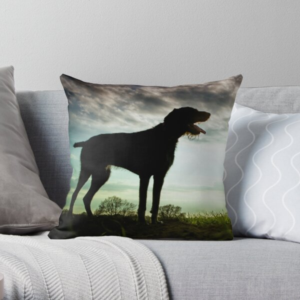 German Wirehaired Pointer Sunset Throw Pillow
