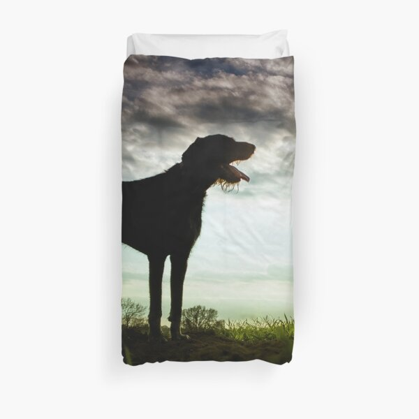 German Wirehaired Pointer Sunset Duvet Cover