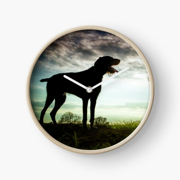 German Wirehaired Pointer Sunset Clock