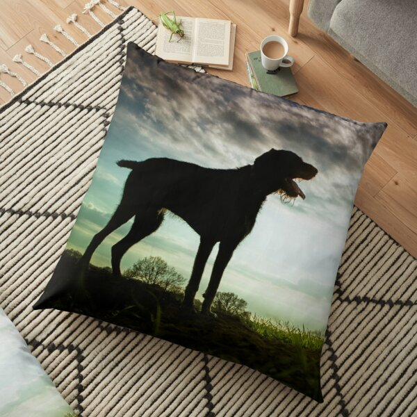 German Wirehaired Pointer Sunset Floor Pillow