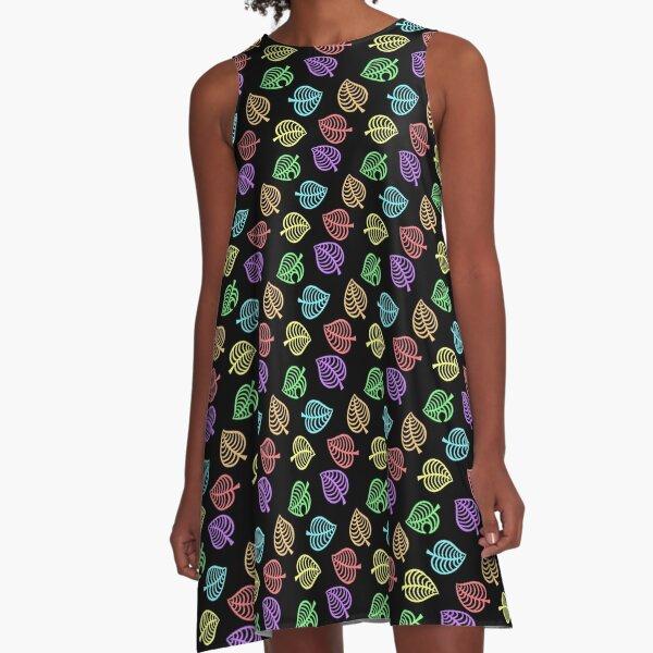 Animal Crossing Aloha repeating pattern - Neon Rainbow A-Line Dress