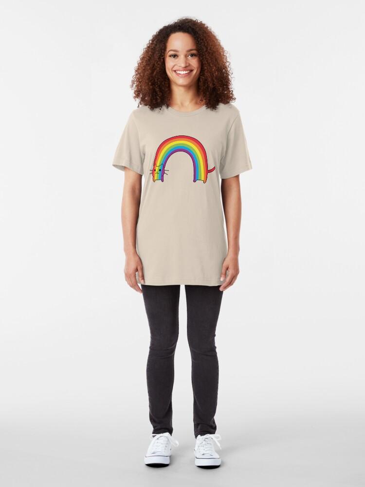 Vista alternativa de Camiseta ajustada Rainbow Cat