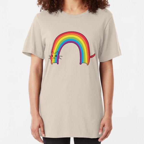 Rainbow Cat Slim Fit T-Shirt