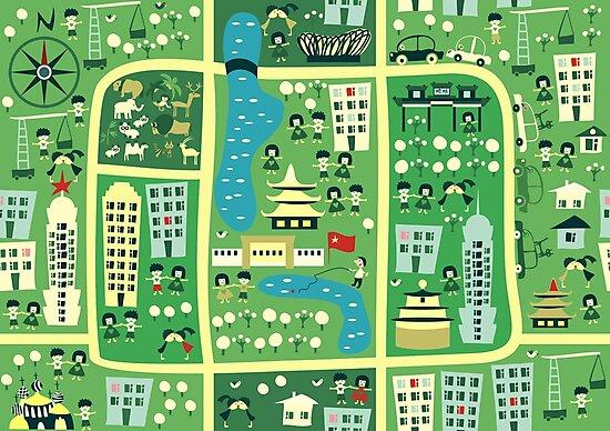 cartoon map of beijing by ychty
