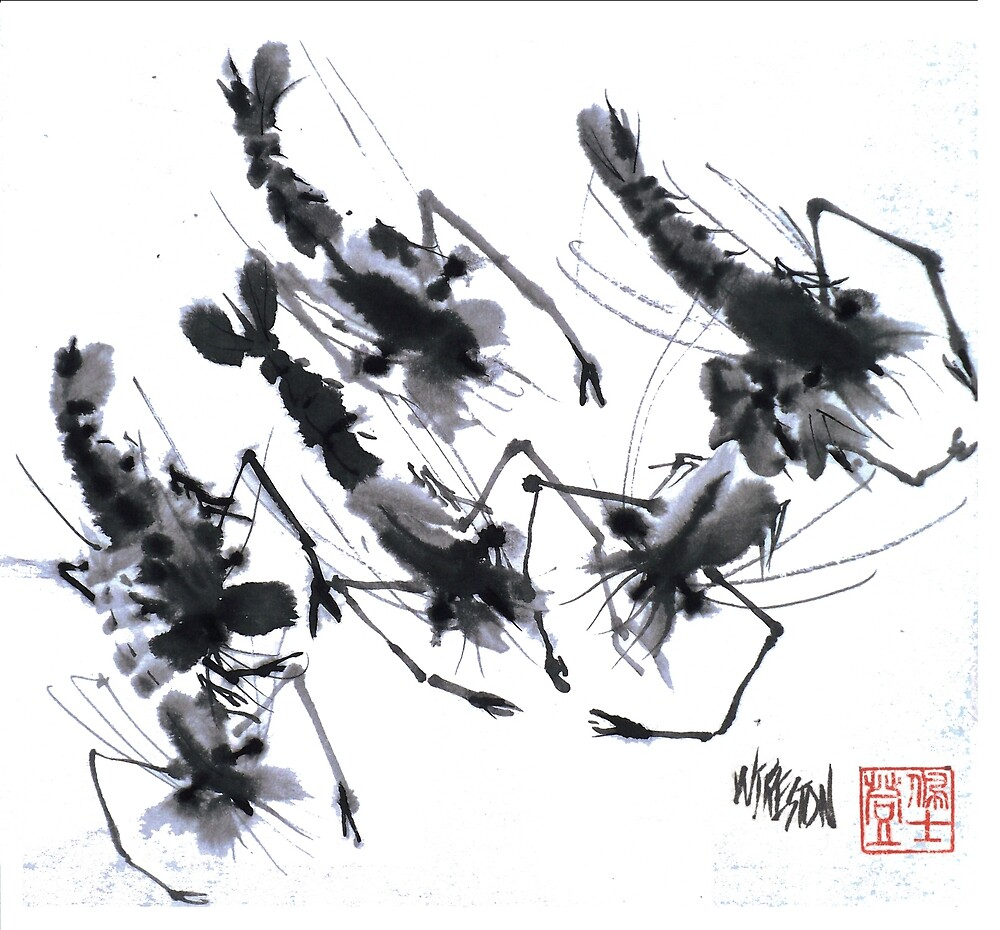 Sumi-e Shrimps represent Abundance! by williampreston