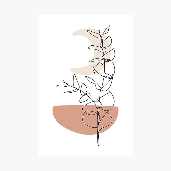 Moon and Leaves - Modern Minimal Line Drawing Botanical Line Art Mid-century Modern Minimal Decor Photographic Print