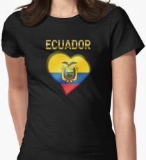 Ecuador - Ecuadorian Flag Heart & Text - Metallic Womens Fitted T-Shirt