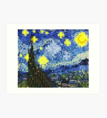 8-bit Starry Night Art Print