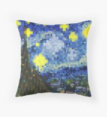 8-bit Starry Night Throw Pillow