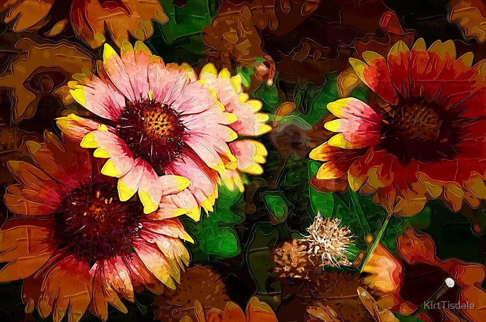 Fall Flowers In Impasto by KirtTisdale
