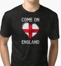 Come On England - English Flag Heart & Text - Metallic Tri-blend T-Shirt