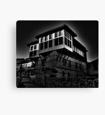Black & white Traditional old house at Kastoria (Makedonia, Greece) Canvas Print