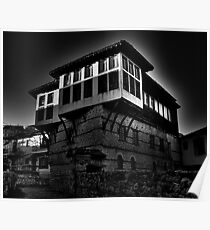 Black & white Traditional old house at Kastoria (Makedonia, Greece) Poster