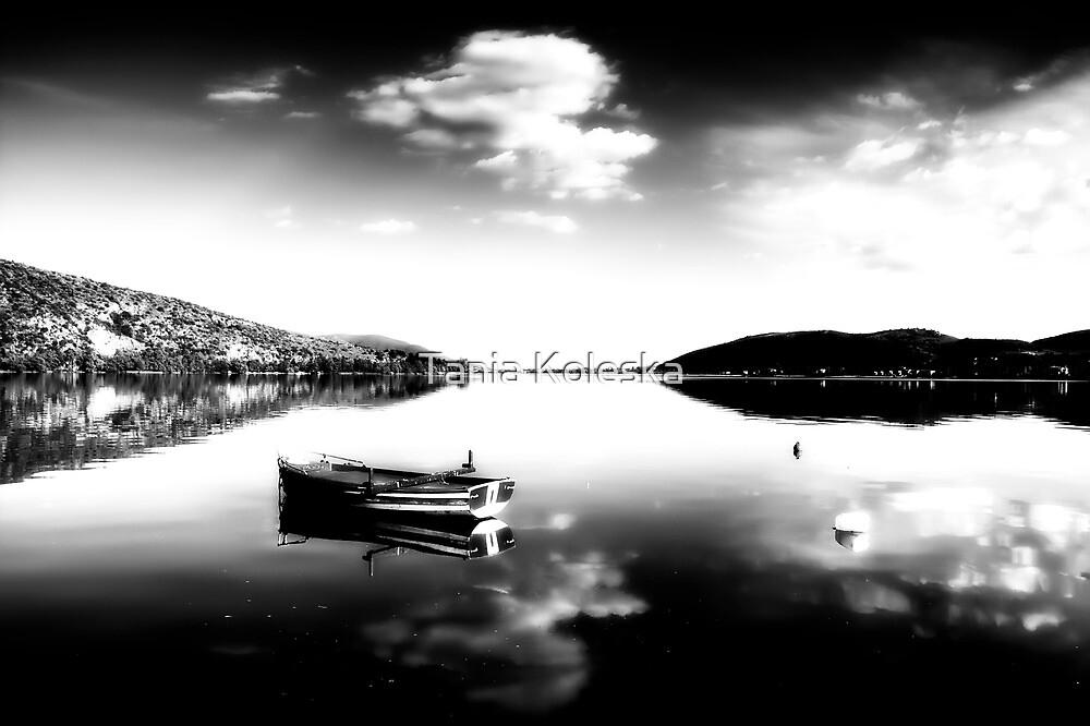 Black and white boat in Kastoria lake (Makedonia, Greece) by Tania Koleska