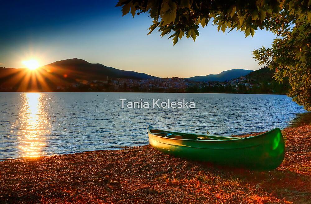 canoe cayak at lake into Sunset by Tania Koleska