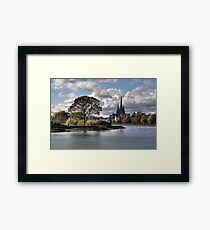 Stowe Pool and Lichfield Cathedral, England Framed Print