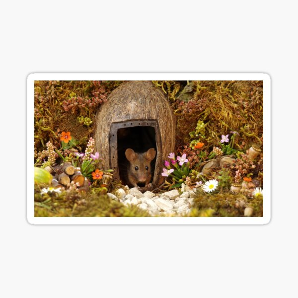 George the mouse in a log pile House at the door  Sticker