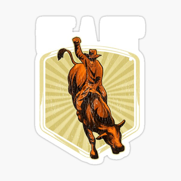 Funny Get a Grip Competitive Bull Riding Pun Sticker