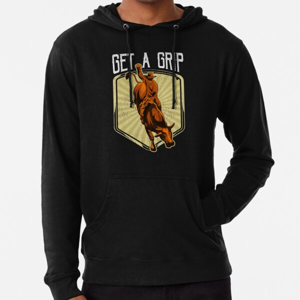 Funny Get a Grip Competitive Bull Riding Pun Lightweight Hoodie