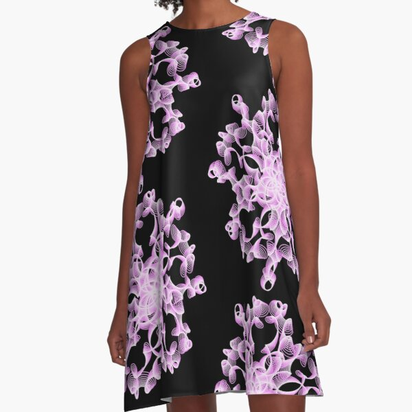 Abstract Flower in Lilac and Black A-Line Dress